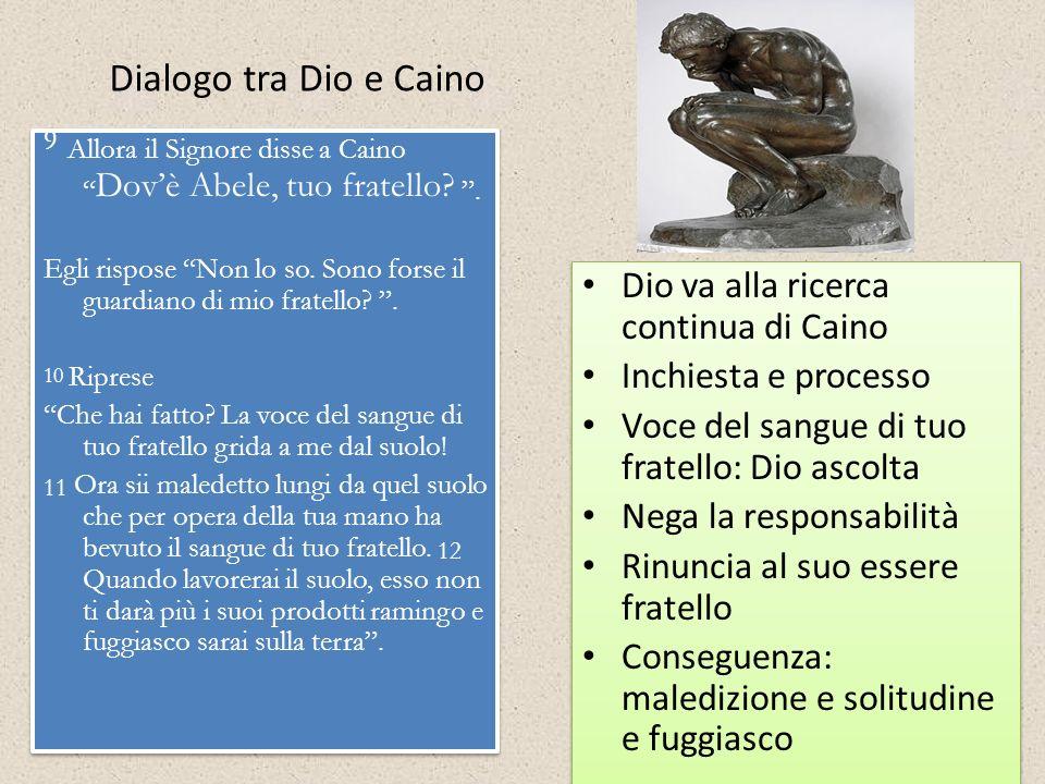 Dialogo tra Dio e Caino 9 Allora il Signore disse a Caino Dovè Abele, tuo fratello?. Egli rispose Non lo so. Sono forse il guardiano di mio fratello?.