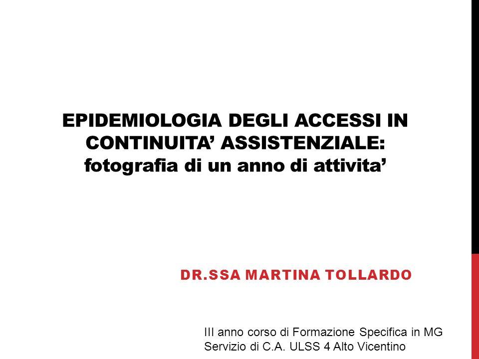 EPIDEMIOLOGIA DEGLI ACCESSI IN CONTINUITA ASSISTENZIALE: fotografia di un anno di attivita DR.SSA MARTINA TOLLARDO III anno corso di Formazione Specif