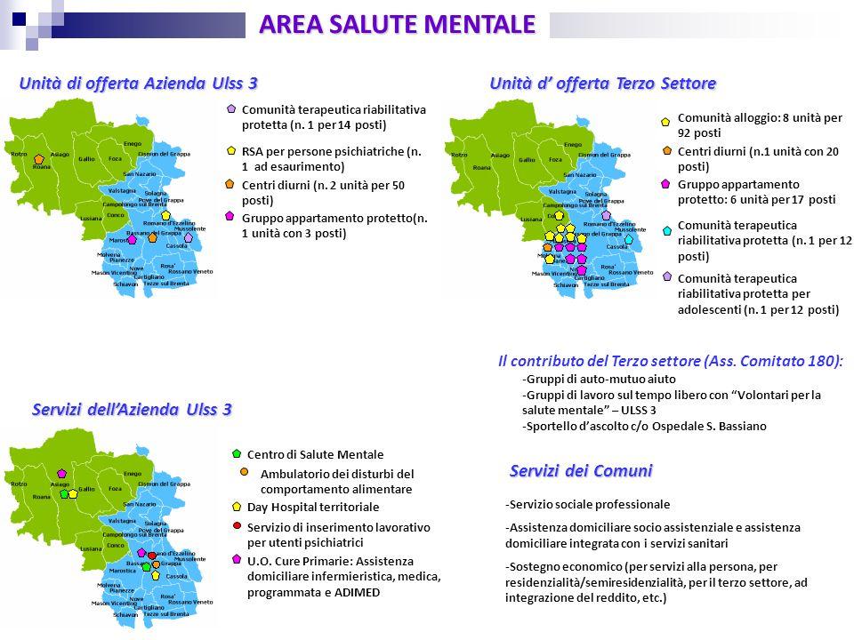 Centro di Salute Mentale AREA SALUTE MENTALE Unità di offerta Azienda Ulss 3 Servizi dei Comuni Comunità terapeutica riabilitativa protetta (n. 1 per