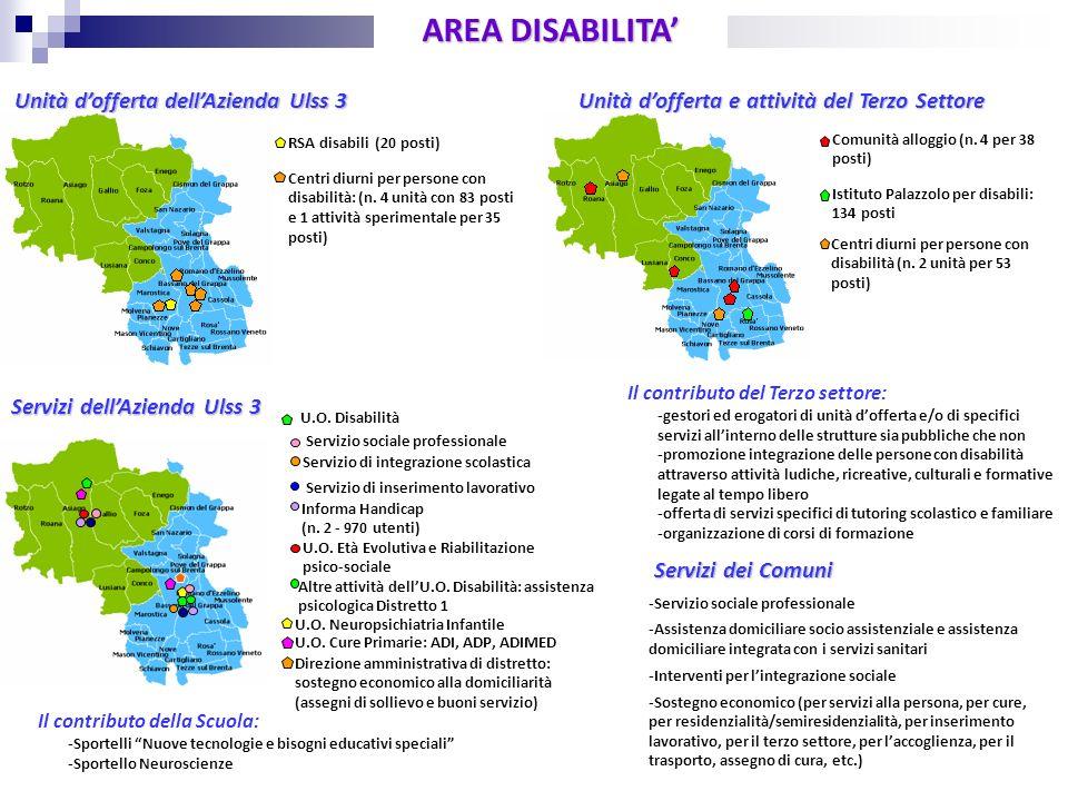 U.O. Disabilità AREA DISABILITA Unità dofferta dellAzienda Ulss 3 Servizi dei Comuni Servizi dellAzienda Ulss 3 RSA disabili (20 posti) Centri diurni