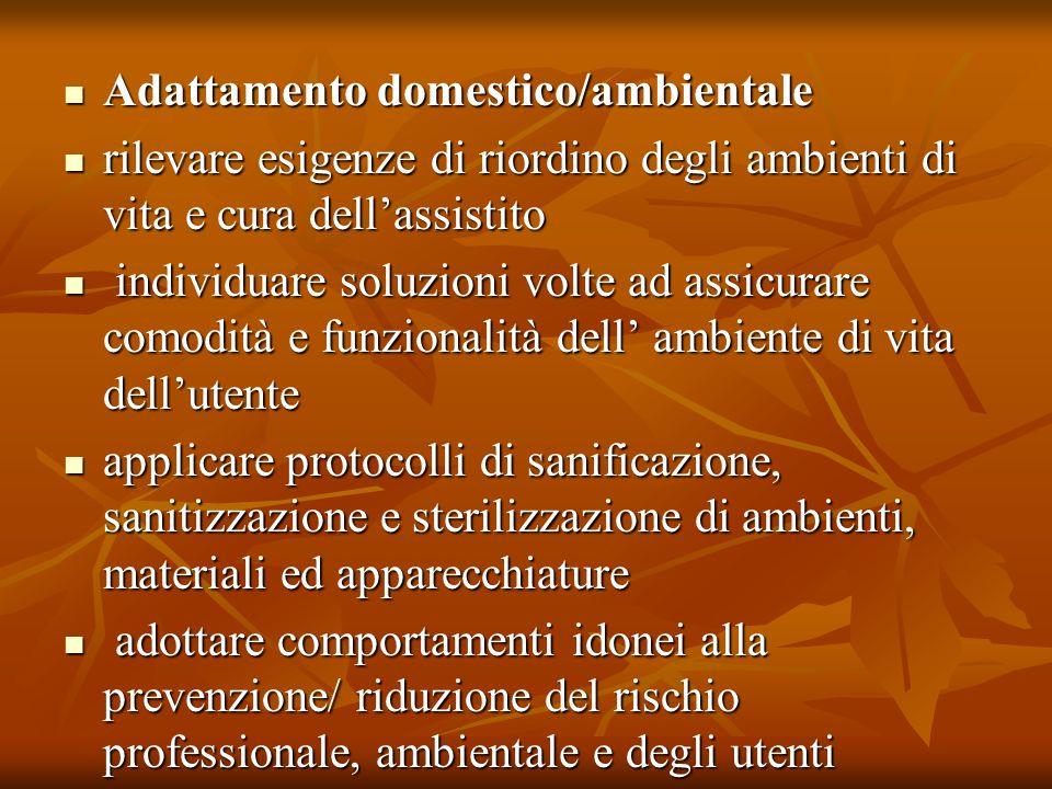 Adattamento domestico/ambientale Adattamento domestico/ambientale rilevare esigenze di riordino degli ambienti di vita e cura dellassistito rilevare e