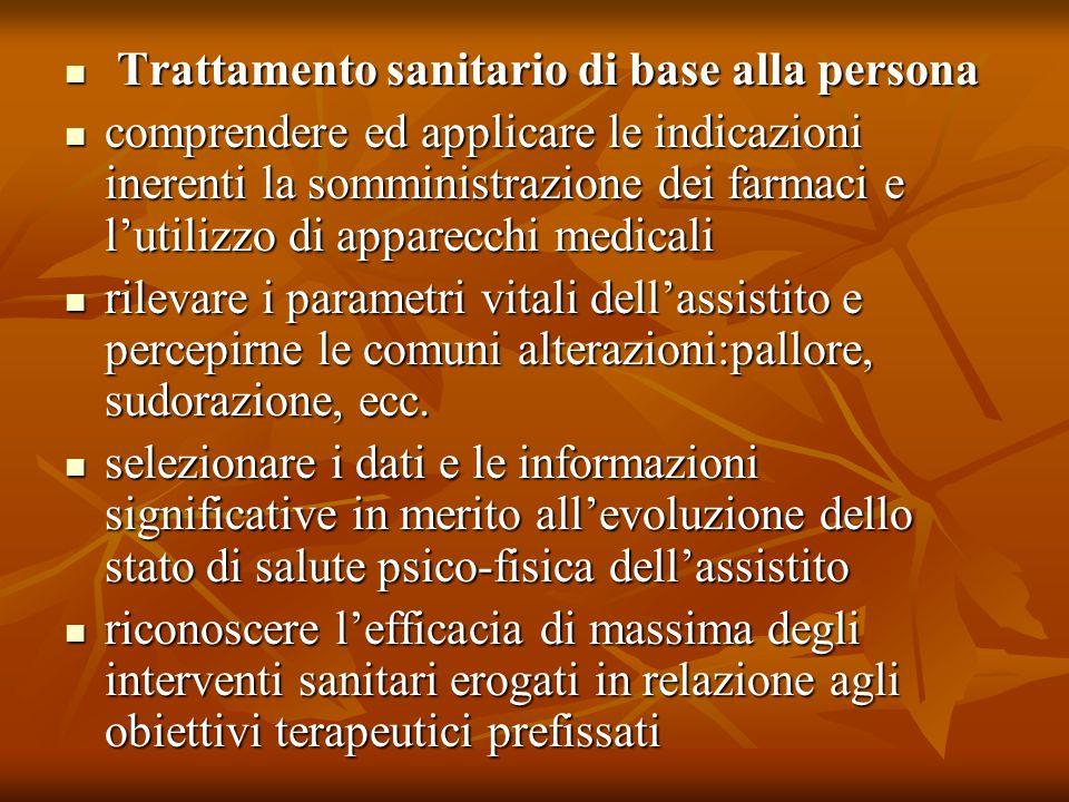 Trattamento sanitario di base alla persona Trattamento sanitario di base alla persona comprendere ed applicare le indicazioni inerenti la somministraz