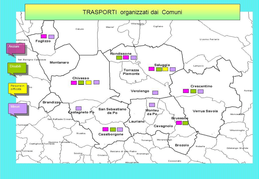 TRASPORTI per PERSONE IN DIFFICOLTA organizzati dai Comuni Solo spostamento Assistenza anche dopo larrivo a destinazione Assistenza solo durante il viaggio