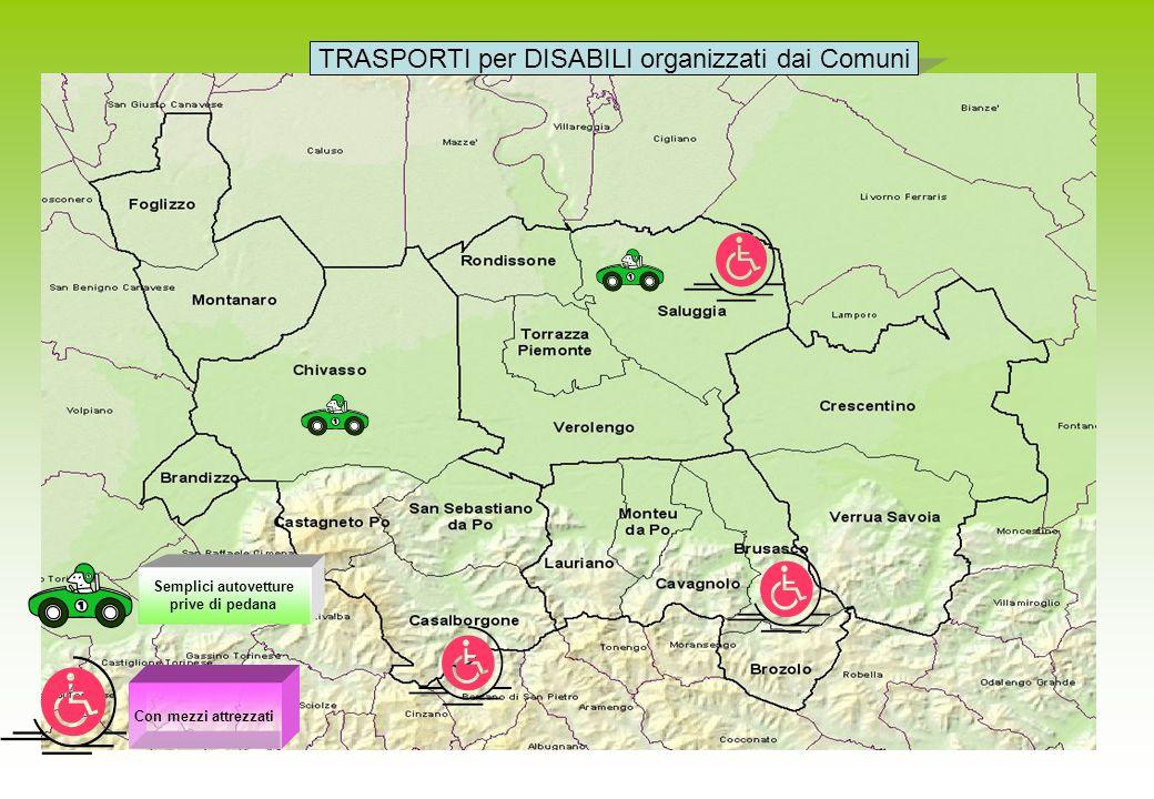 Semplici autovetture prive di pedana TRASPORTI per DISABILI organizzati dai Comuni Con mezzi attrezzati