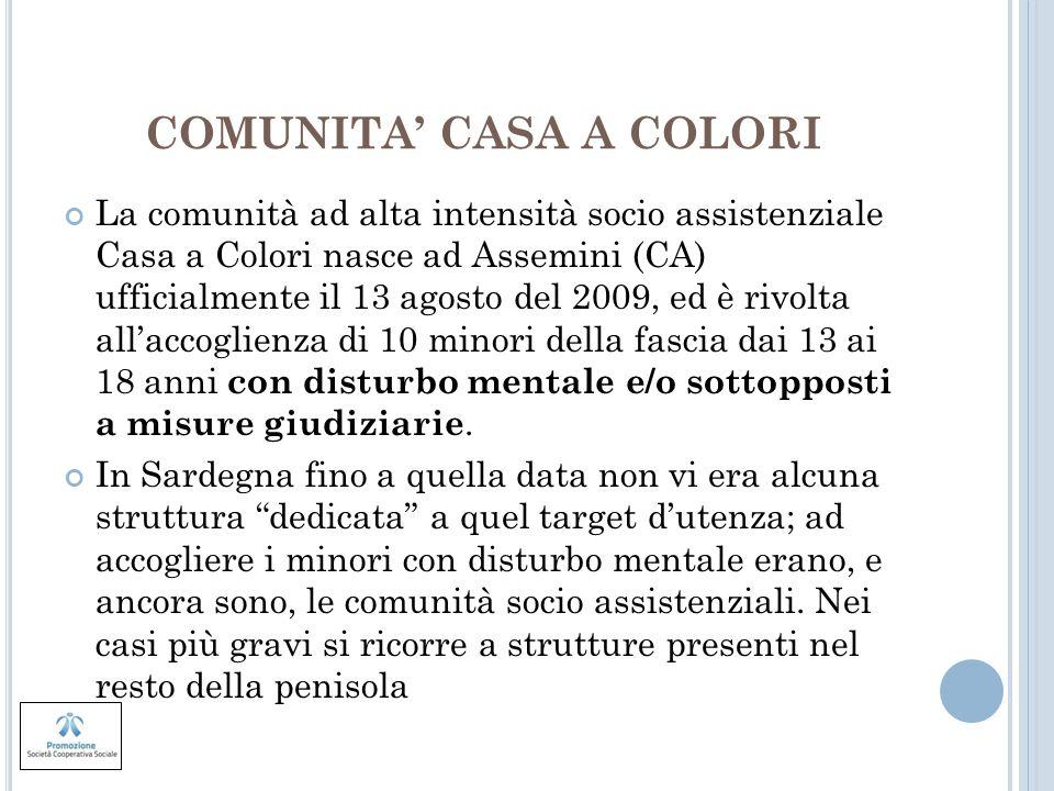 COMUNITA CASA A COLORI La comunità ad alta intensità socio assistenziale Casa a Colori nasce ad Assemini (CA) ufficialmente il 13 agosto del 2009, ed
