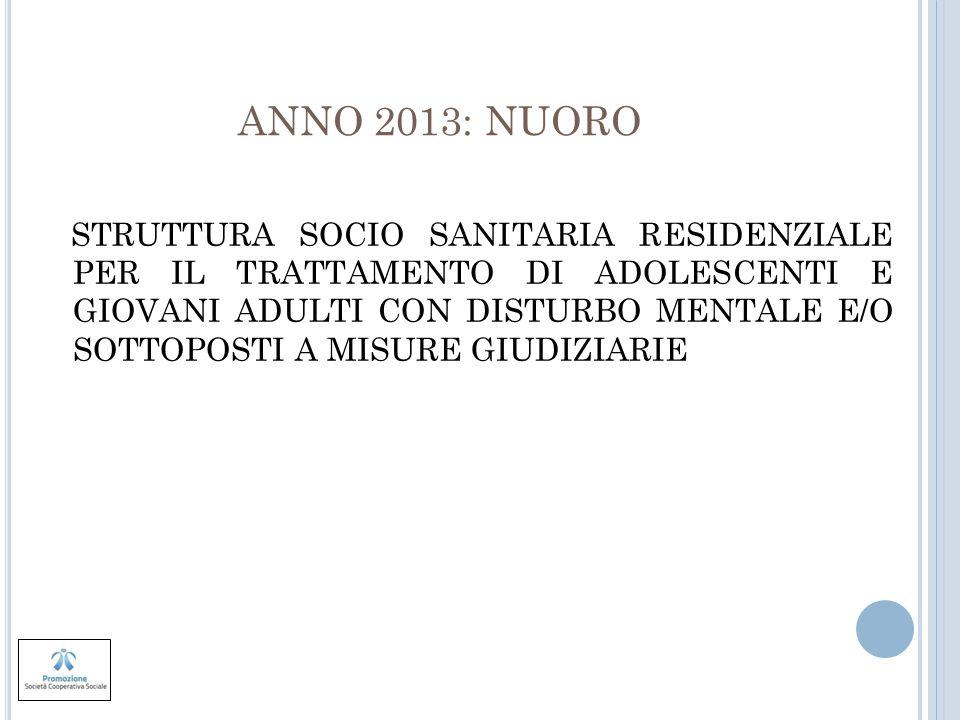 ANNO 2013: NUORO STRUTTURA SOCIO SANITARIA RESIDENZIALE PER IL TRATTAMENTO DI ADOLESCENTI E GIOVANI ADULTI CON DISTURBO MENTALE E/O SOTTOPOSTI A MISUR