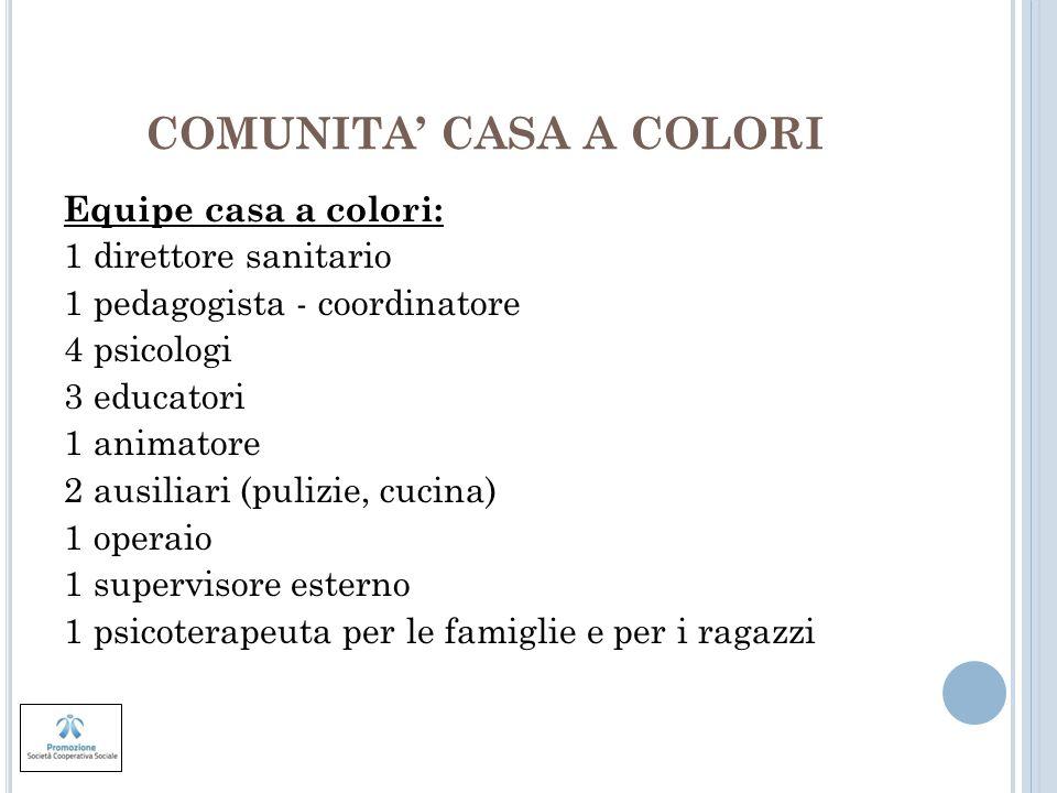 COMUNITA CASA A COLORI Equipe casa a colori: 1 direttore sanitario 1 pedagogista - coordinatore 4 psicologi 3 educatori 1 animatore 2 ausiliari (puliz