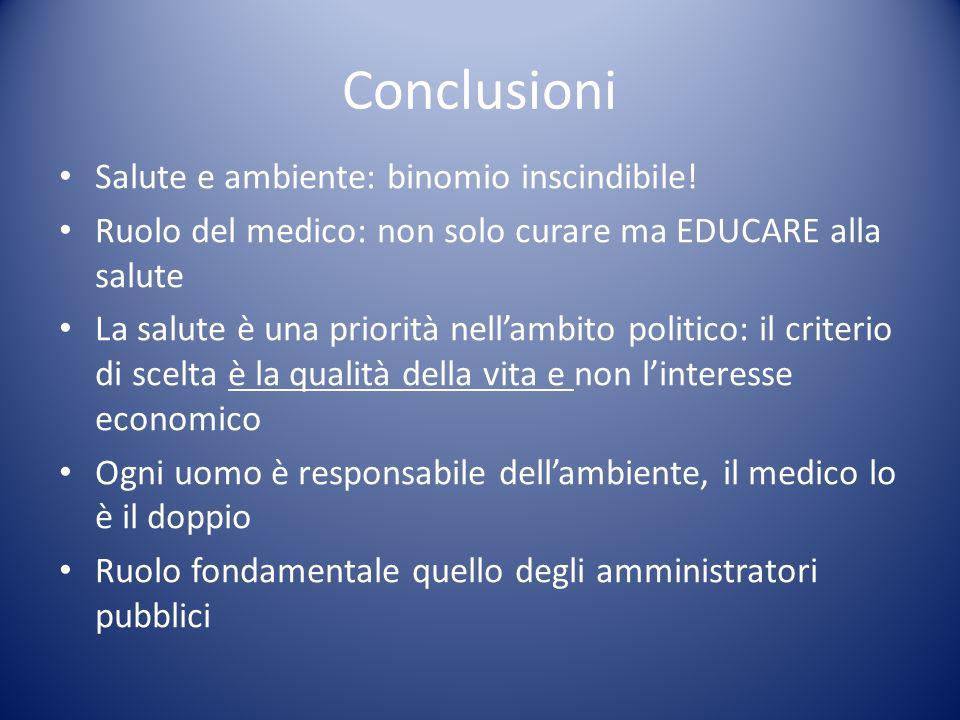 Conclusioni Salute e ambiente: binomio inscindibile! Ruolo del medico: non solo curare ma EDUCARE alla salute La salute è una priorità nellambito poli