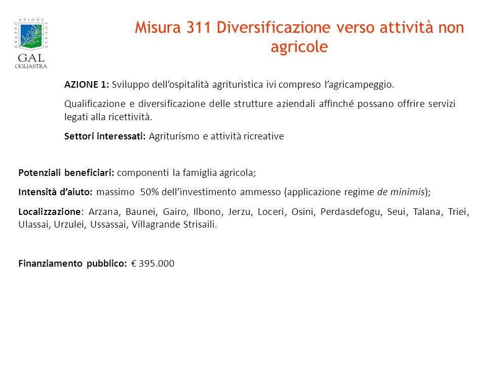 Misura 311 Diversificazione verso attività non agricole AZIONE 1: Sviluppo dellospitalità agrituristica ivi compreso lagricampeggio.