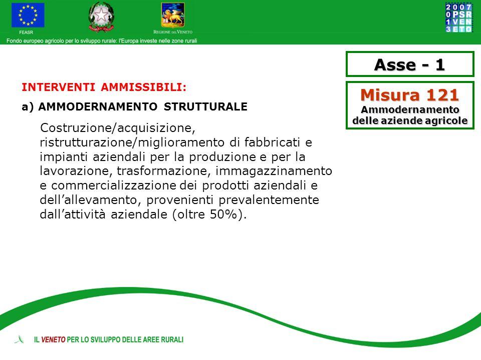 Asse - 1 Misura 121 Ammodernamento delle aziende agricole INTERVENTI AMMISSIBILI: a) AMMODERNAMENTO STRUTTURALE Costruzione/acquisizione, ristrutturaz