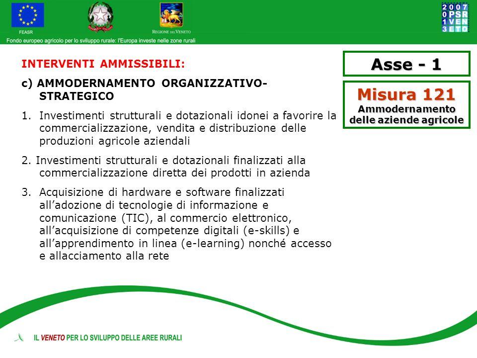 Asse - 1 Misura 121 Ammodernamento delle aziende agricole INTERVENTI AMMISSIBILI: c) AMMODERNAMENTO ORGANIZZATIVO- STRATEGICO 1. Investimenti struttur