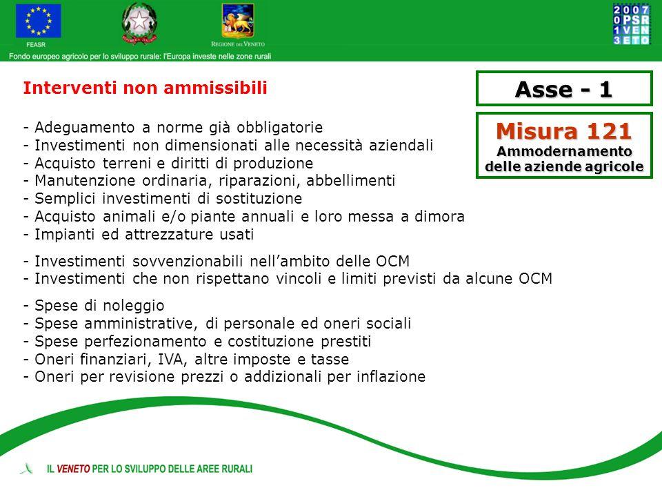 Asse - 1 Misura 121 Ammodernamento delle aziende agricole Interventi non ammissibili - Adeguamento a norme già obbligatorie - Investimenti non dimensi