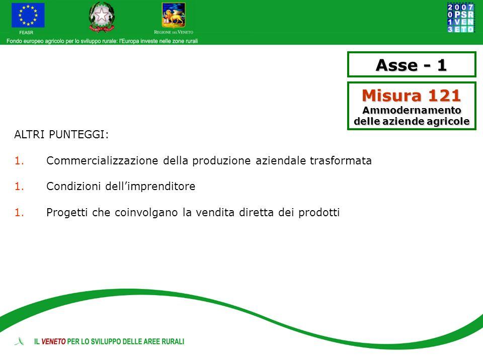 Asse - 1 Misura 121 Ammodernamento delle aziende agricole ALTRI PUNTEGGI: 1.Commercializzazione della produzione aziendale trasformata 1.Condizioni de