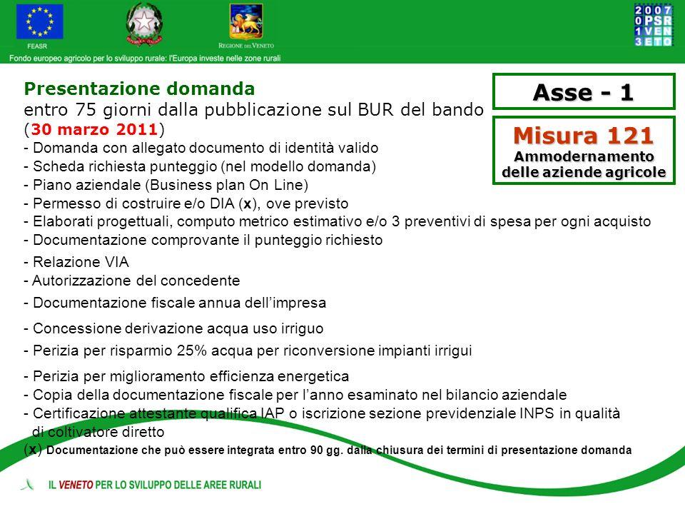 Asse - 1 Misura 121 Ammodernamento delle aziende agricole Presentazione domanda entro 75 giorni dalla pubblicazione sul BUR del bando (30 marzo 2011)