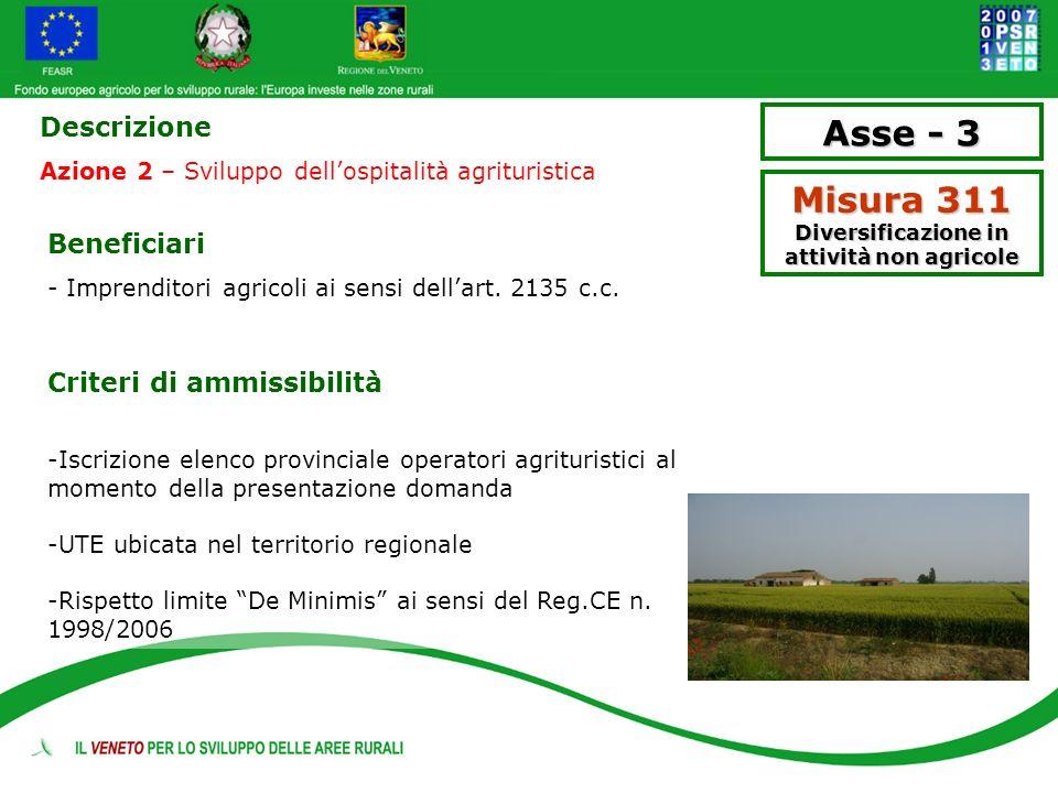Asse - 3 Misura 311 Diversificazione in attività non agricole Descrizione Azione 2 – Sviluppo dellospitalità agrituristica Beneficiari - Imprenditori