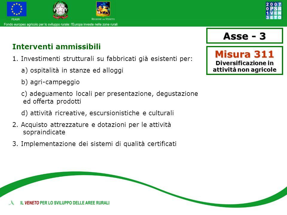 Asse - 3 Misura 311 Diversificazione in attività non agricole Interventi ammissibili 1. Investimenti strutturali su fabbricati già esistenti per: a) o