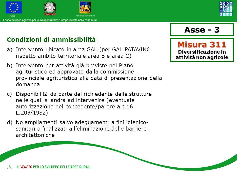 Condizioni di ammissibilità a)Intervento ubicato in area GAL (per GAL PATAVINO rispetto ambito territoriale area B e area C) b)Intervento per attività