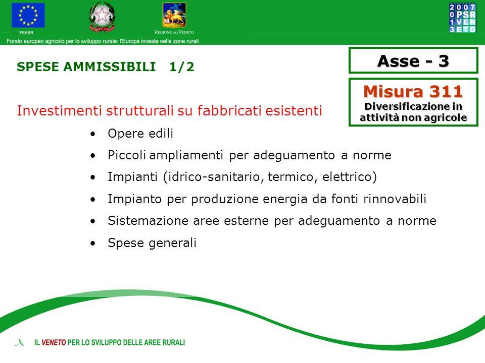 SPESE AMMISSIBILI 1/2 Investimenti strutturali su fabbricati esistenti Opere edili Piccoli ampliamenti per adeguamento a norme Impianti (idrico-sanita