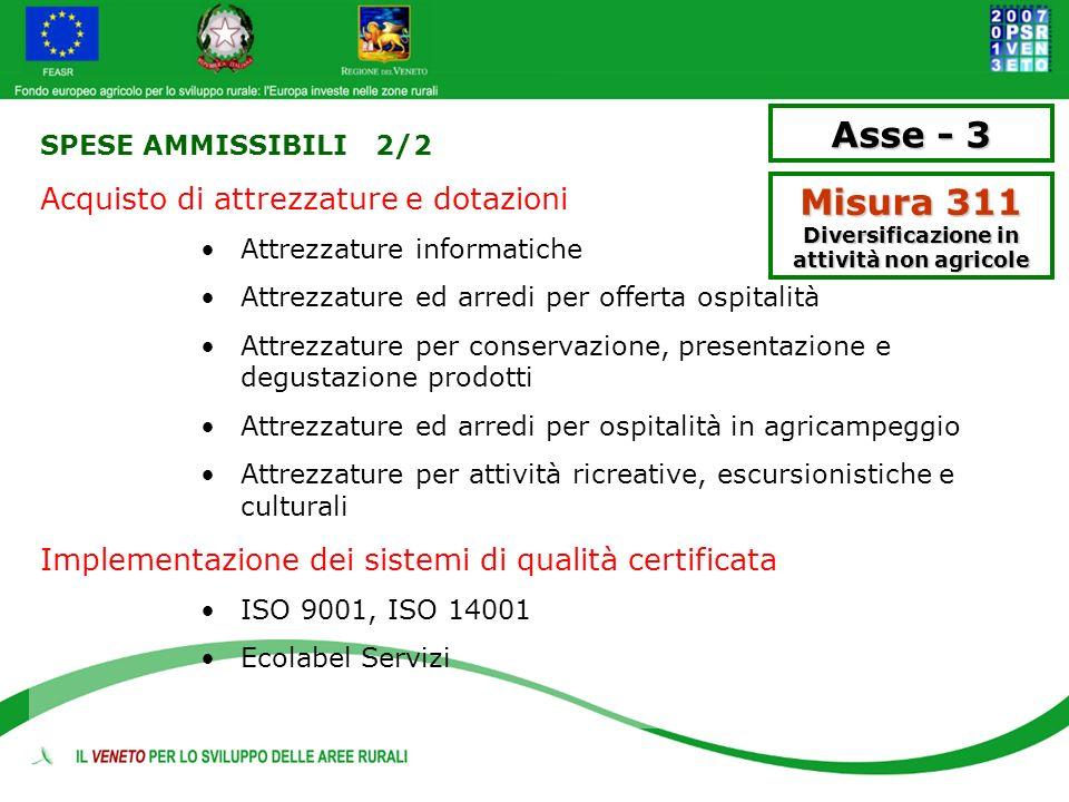 SPESE AMMISSIBILI 2/2 Acquisto di attrezzature e dotazioni Attrezzature informatiche Attrezzature ed arredi per offerta ospitalità Attrezzature per co