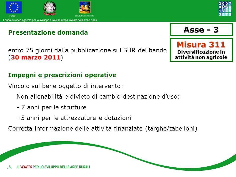 Presentazione domanda entro 75 giorni dalla pubblicazione sul BUR del bando (30 marzo 2011) Impegni e prescrizioni operative Vincolo sul bene oggetto
