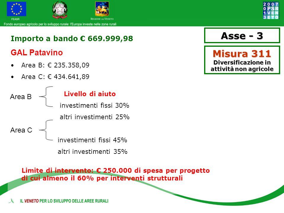 Importo a bando 669.999,98 GAL Patavino Area B: 235.358,09 Area C: 434.641,89 Livello di aiuto investimenti fissi 30% altri investimenti 25% investime