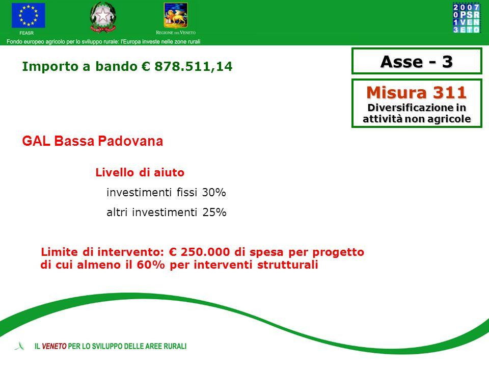 Importo a bando 878.511,14 GAL Bassa Padovana Livello di aiuto investimenti fissi 30% altri investimenti 25% Limite di intervento: 250.000 di spesa pe