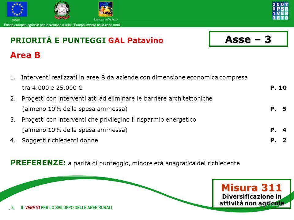 PRIORITÀ E PUNTEGGI GAL Patavino Area B 1.Interventi realizzati in aree B da aziende con dimensione economica compresa tra 4.000 e 25.000 P. 10 2. Pro