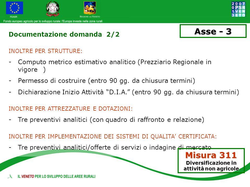 Documentazione domanda 2/2 INOLTRE PER STRUTTURE: -Computo metrico estimativo analitico (Prezziario Regionale in vigore) -Permesso di costruire (entro
