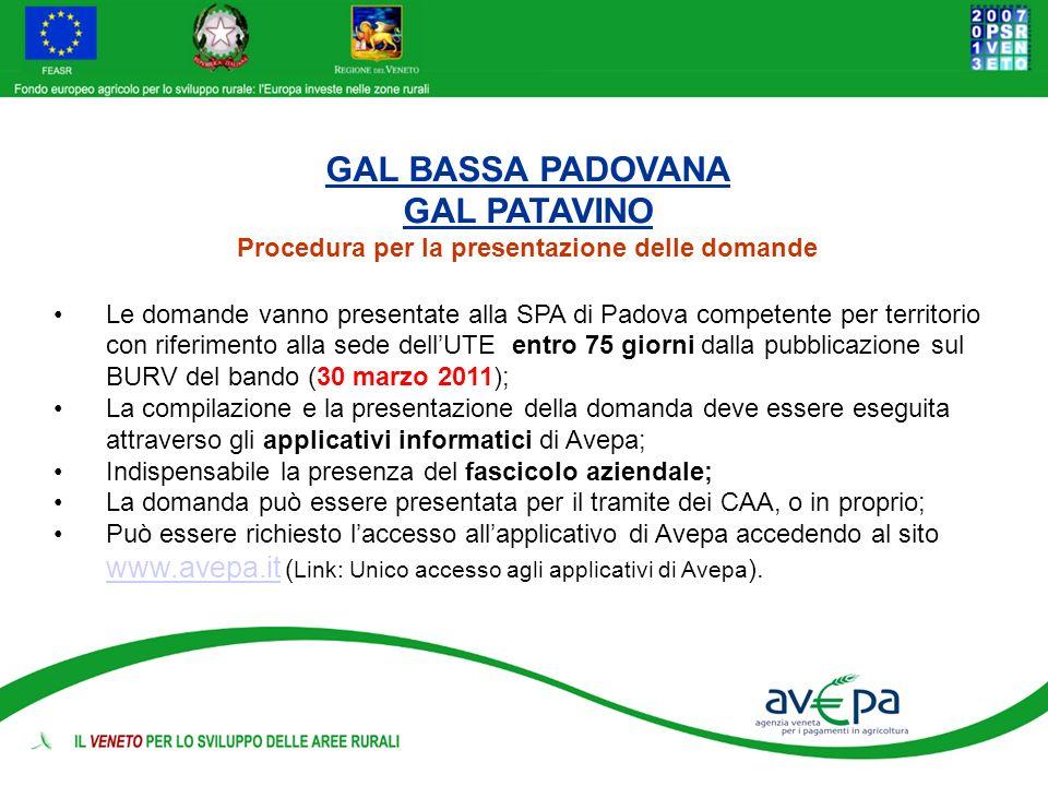 GAL BASSA PADOVANA GAL PATAVINO Procedura per la presentazione delle domande Le domande vanno presentate alla SPA di Padova competente per territorio
