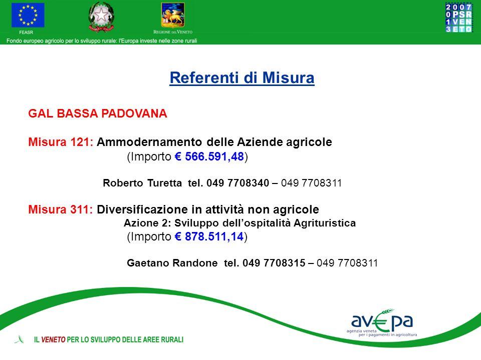 Referenti di Misura GAL BASSA PADOVANA Misura 121: Ammodernamento delle Aziende agricole (Importo 566.591,48) Roberto Turetta tel. 049 7708340 – 049 7