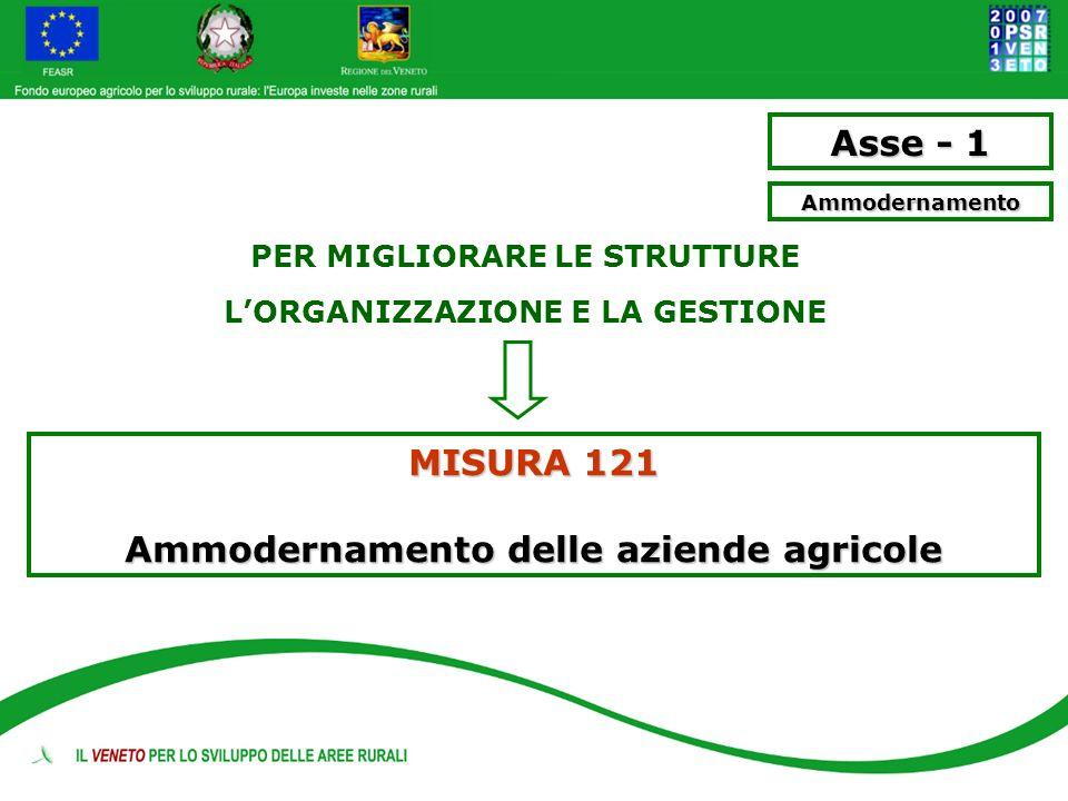 Asse - 1 Misura 121 Ammodernamento delle aziende agricole Descrizione sostegno agli investimenti attraverso erogazione di contributi in conto capitale per: - ammodernamento strutturale - ammodernamento tecnologico - ammodernamento organizzativo strategico Beneficiari - I.A.P.