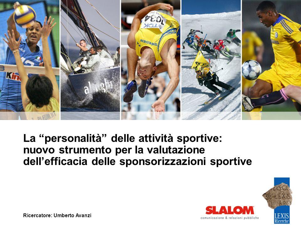 La personalità delle attività sportive: nuovo strumento per la valutazione dellefficacia delle sponsorizzazioni sportive Ricercatore: Umberto Avanzi