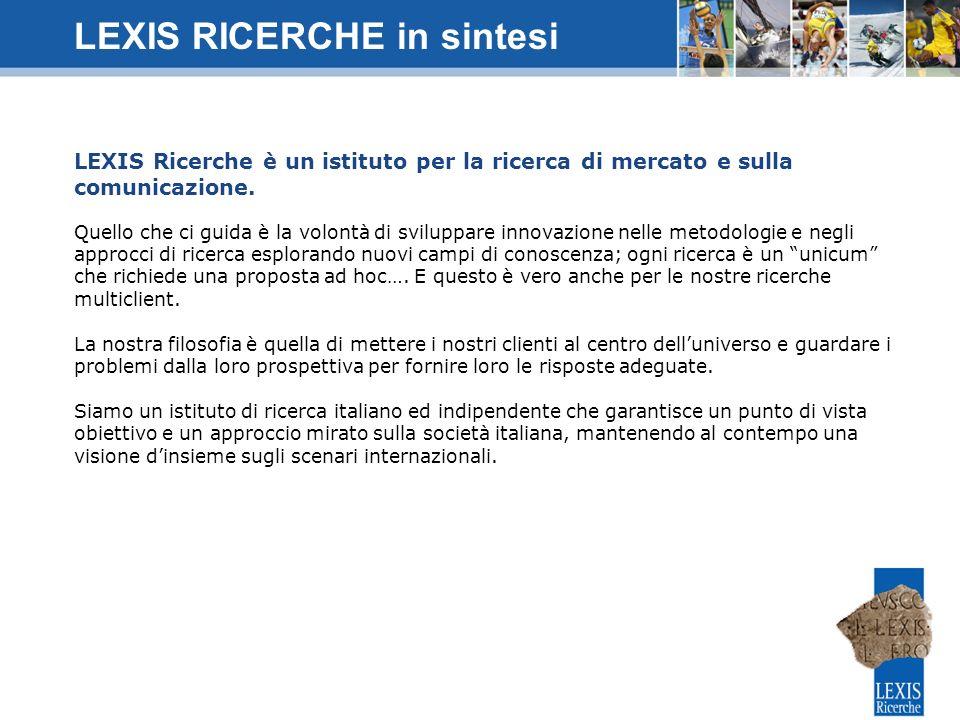 LEXIS Ricerche è un istituto per la ricerca di mercato e sulla comunicazione. Quello che ci guida è la volontà di sviluppare innovazione nelle metodol