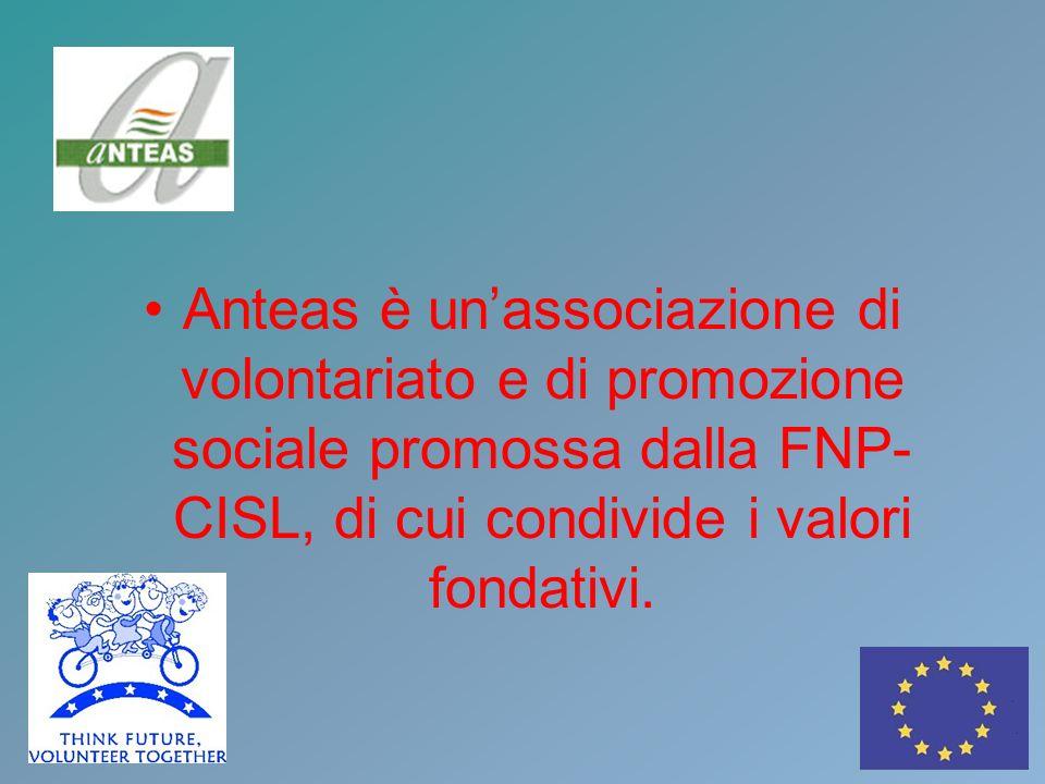 Anteas è unassociazione di volontariato e di promozione sociale promossa dalla FNP- CISL, di cui condivide i valori fondativi.