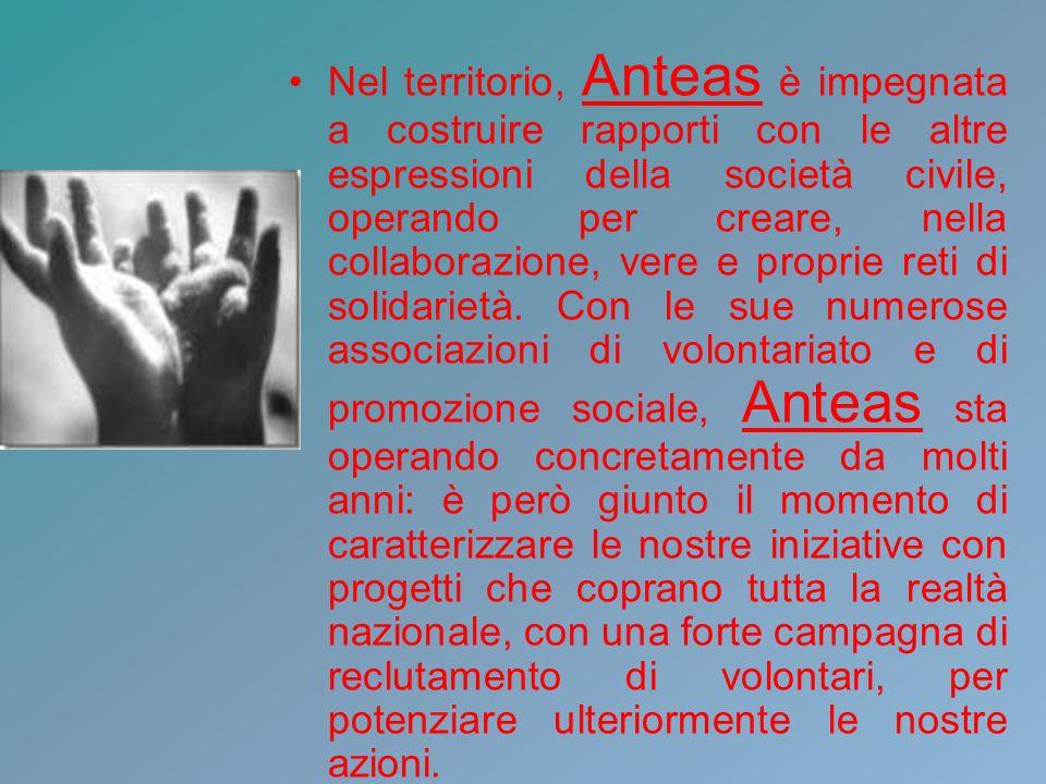Nel territorio, Anteas è impegnata a costruire rapporti con le altre espressioni della società civile, operando per creare, nella collaborazione, vere e proprie reti di solidarietà.