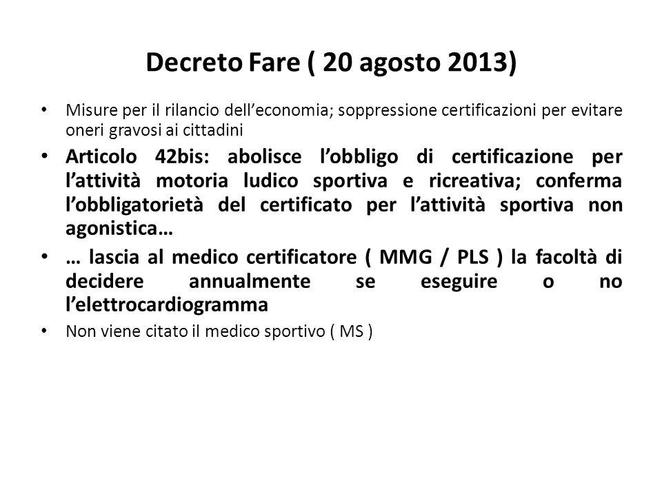 Decreto Fare ( 20 agosto 2013) Misure per il rilancio delleconomia; soppressione certificazioni per evitare oneri gravosi ai cittadini Articolo 42bis: