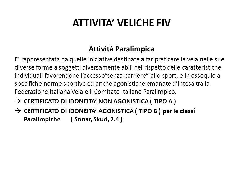 ATTIVITA VELICHE FIV Attività Paralimpica E rappresentata da quelle iniziative destinate a far praticare la vela nelle sue diverse forme a soggetti di