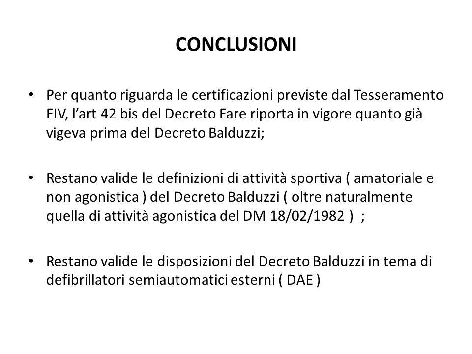 CONCLUSIONI Per quanto riguarda le certificazioni previste dal Tesseramento FIV, lart 42 bis del Decreto Fare riporta in vigore quanto già vigeva prim