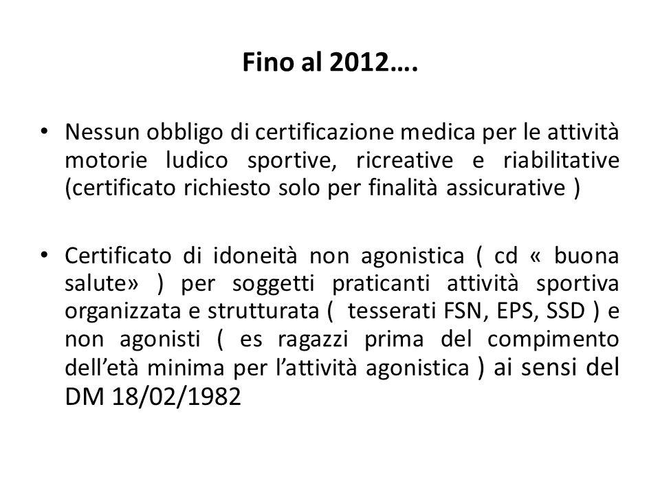 Fino al 2012…. Nessun obbligo di certificazione medica per le attività motorie ludico sportive, ricreative e riabilitative (certificato richiesto solo