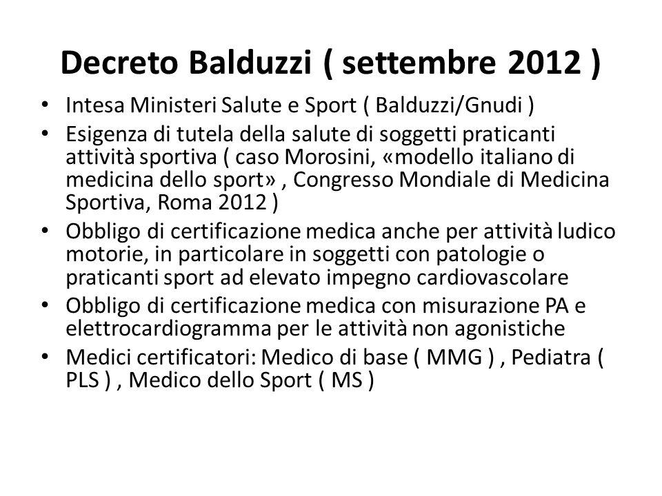 Decreto Balduzzi ( settembre 2012 ) Intesa Ministeri Salute e Sport ( Balduzzi/Gnudi ) Esigenza di tutela della salute di soggetti praticanti attività