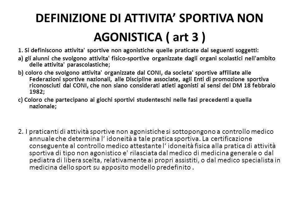 DEFINIZIONE DI ATTIVITA SPORTIVA NON AGONISTICA ( art 3 ) 1. Si definiscono attivita' sportive non agonistiche quelle praticate dai seguenti soggetti: