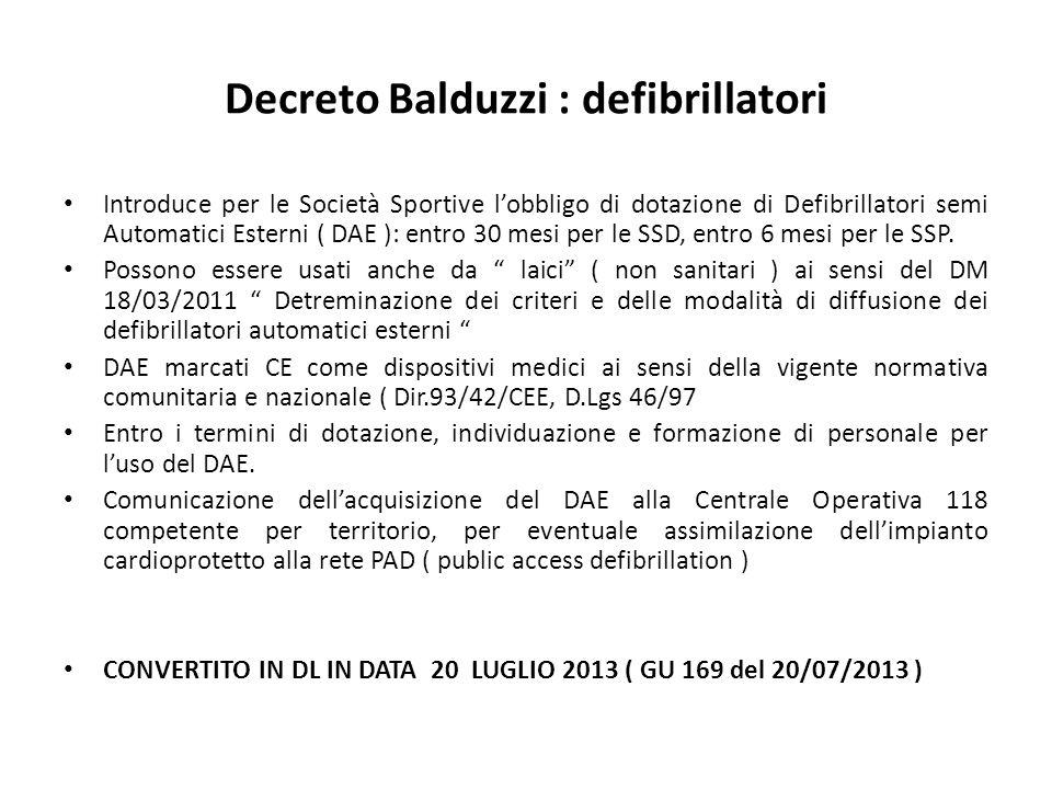 Decreto Balduzzi : defibrillatori Introduce per le Società Sportive lobbligo di dotazione di Defibrillatori semi Automatici Esterni ( DAE ): entro 30