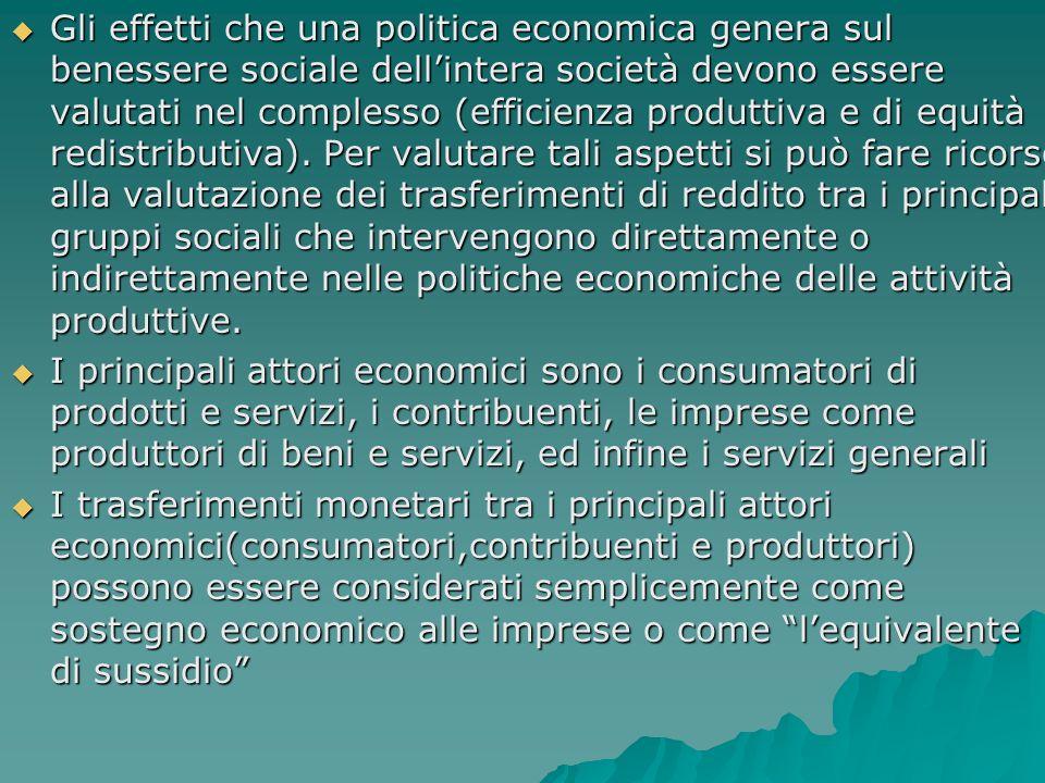 Gli effetti che una politica economica genera sul benessere sociale dellintera società devono essere valutati nel complesso (efficienza produttiva e di equità redistributiva).
