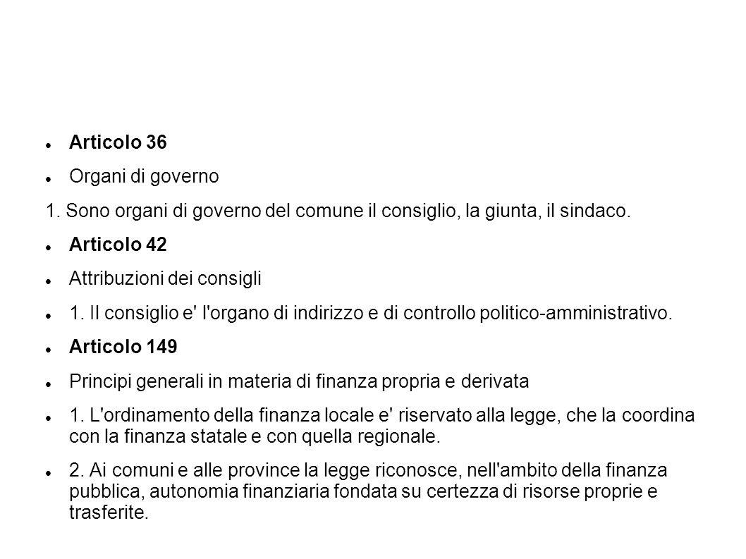 Articolo 36 Organi di governo 1. Sono organi di governo del comune il consiglio, la giunta, il sindaco. Articolo 42 Attribuzioni dei consigli 1. Il co