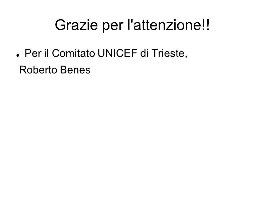Grazie per l'attenzione!! Per il Comitato UNICEF di Trieste, Roberto Benes