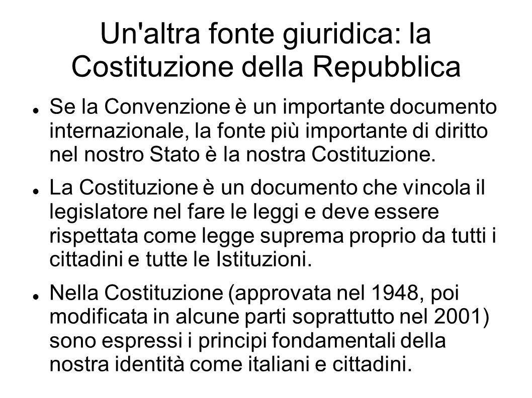 Un'altra fonte giuridica: la Costituzione della Repubblica Se la Convenzione è un importante documento internazionale, la fonte più importante di diri