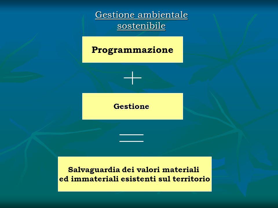 Gestione ambientale sostenibile Programmazione Gestione Salvaguardia dei valori materiali ed immateriali esistenti sul territorio