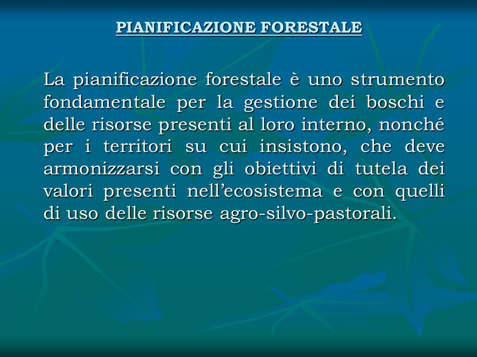 PIANIFICAZIONE FORESTALE La pianificazione forestale è uno strumento fondamentale per la gestione dei boschi e delle risorse presenti al loro interno,