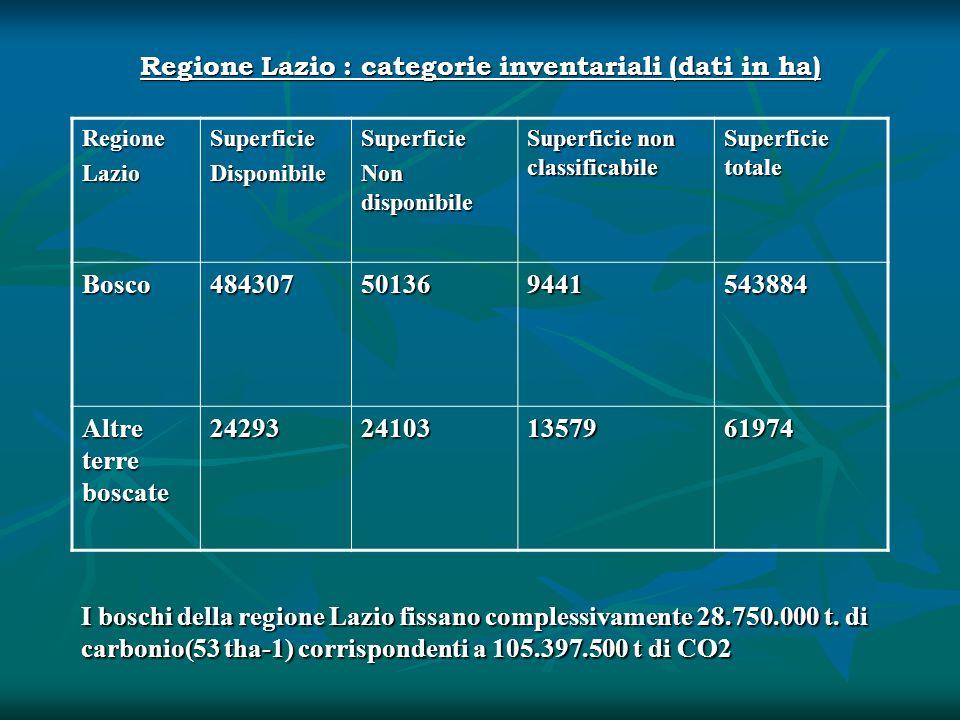 Regione Lazio : categorie inventariali (dati in ha) RegioneLazioSuperficieDisponibileSuperficie Non disponibile Superficie non classificabile Superfic