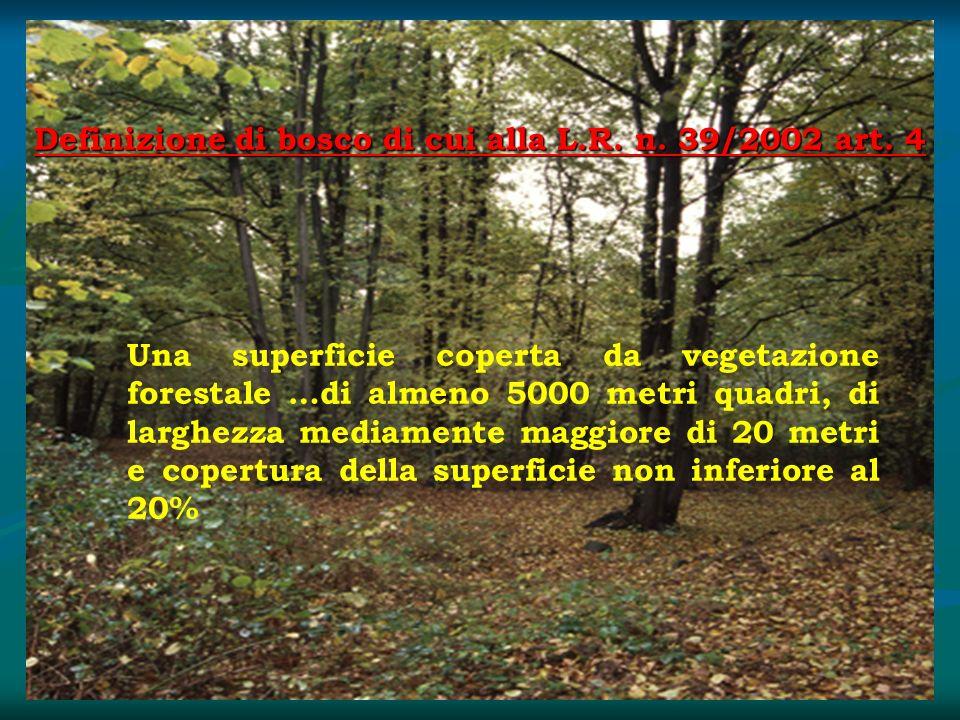 Definizione di bosco di cui alla L.R. n. 39/2002 art. 4 Una superficie coperta da vegetazione forestale …di almeno 5000 metri quadri, di larghezza med